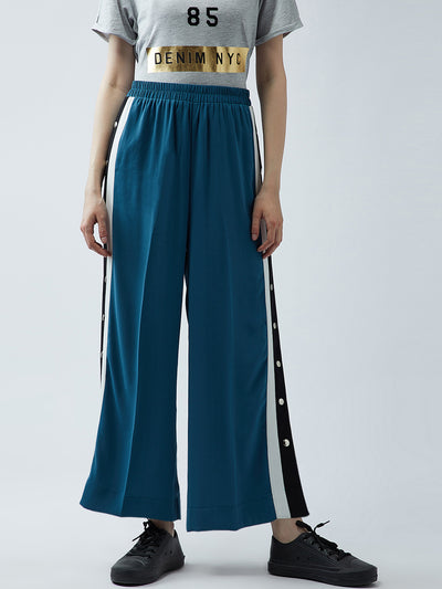 Aqua Relaxed Straight Leg Straight Fit Solid Parallel Trousers