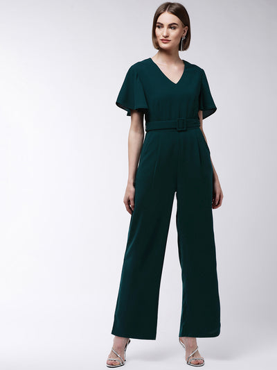 Green Solid Basic Jumpsuit