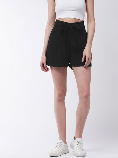 Black Solid Regular Fit Shorts