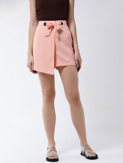 Peach-Coloured Solid Loose Fit Regular Shorts