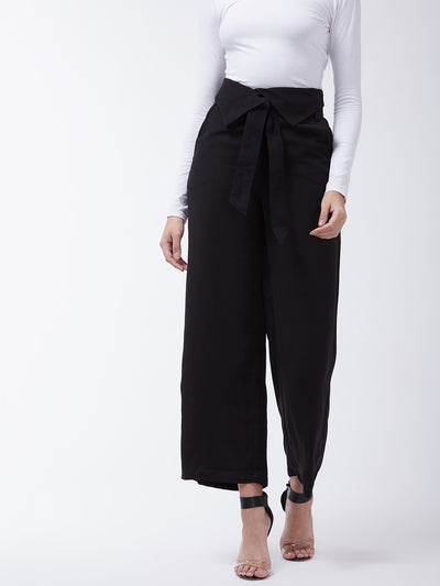Black Flared Solid Peg Trousers