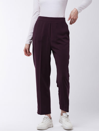 Burgundy Regular Fit Solid Trousers