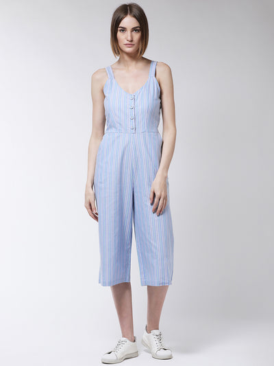 Blue & White Striped Basic Jumpsuit