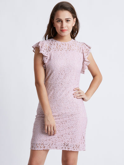 Pink Self Design Lace Sheath Dress