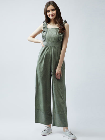 Green Checked Basic Jumpsuit