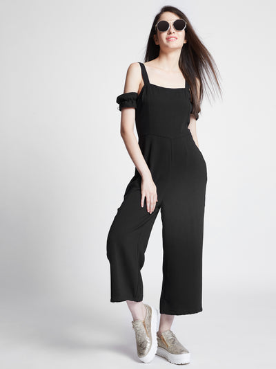 Black Solid Culotte Jumpsuit