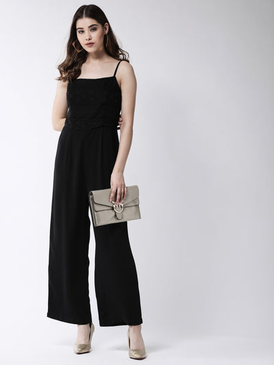 Black Solid Basic Jumpsuit