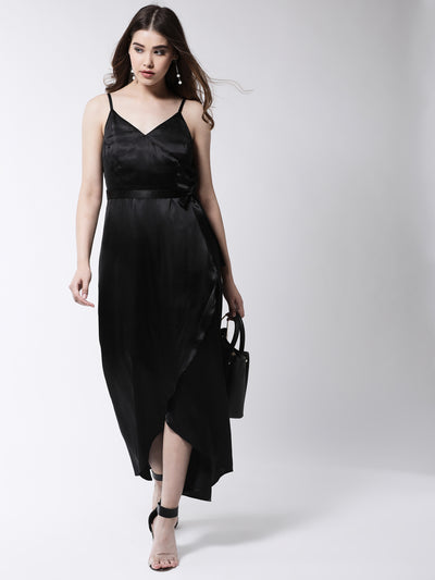 Black Solid Wrap Maxi Dress