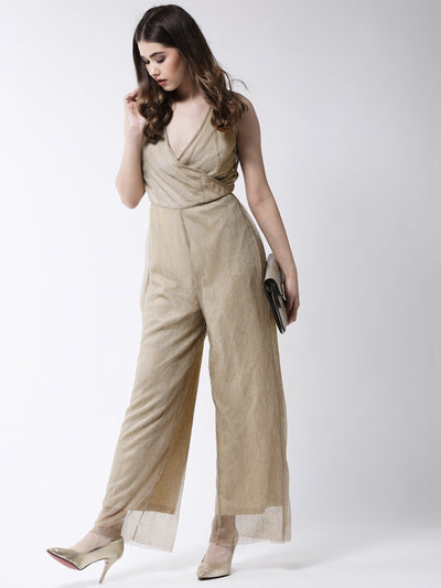 Beige & Gold-Toned Solid Basic Jumpsuit
