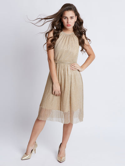Gold-Toned Solid Fit and Flare Dress