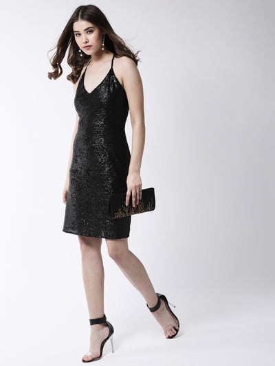 Black Embellished Sheath Dress