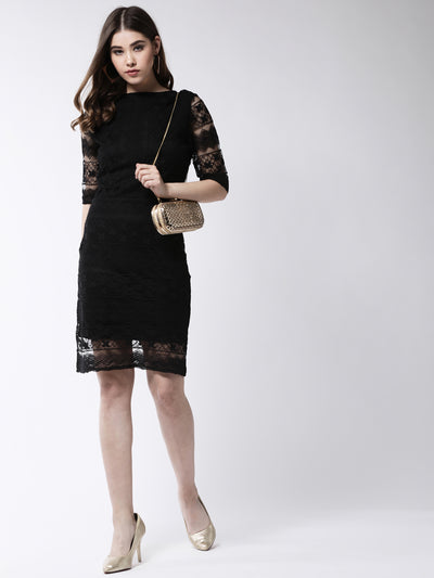Black Self Design Sheath Dress