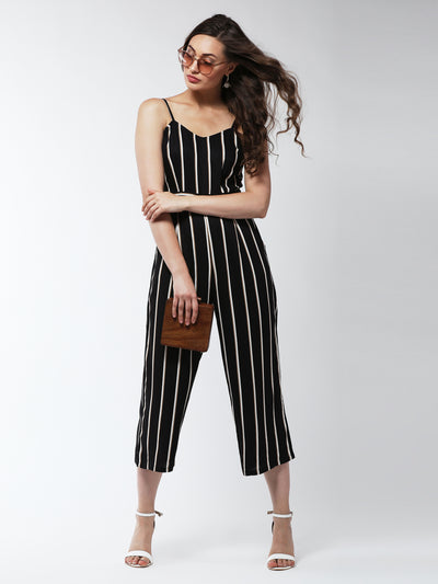 Black & White Striped Culotte Jumpsuit