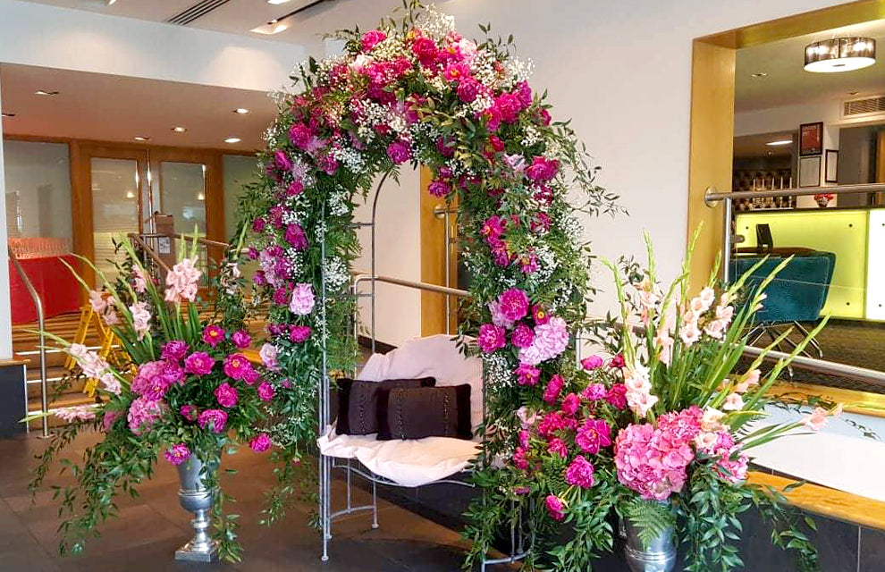 Pink Floral Arch Love Seat