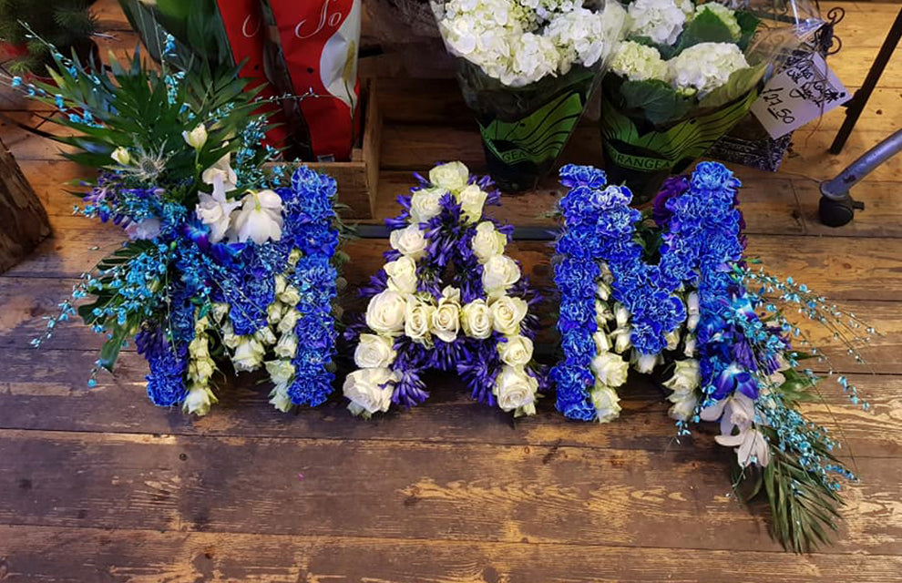 Blue and White Mam Funeral Letter Tribute