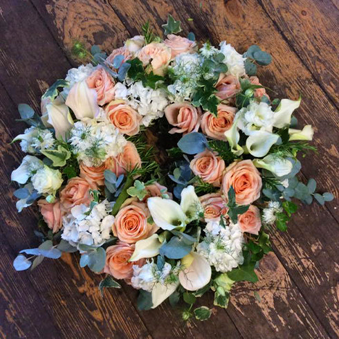 Peach and White Wreath Funeral Tribute
