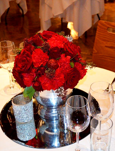 Red Rose Table Centre for a Christmas Event