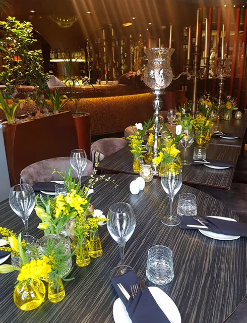 Yellow Table Centres for 90th Birthday Party