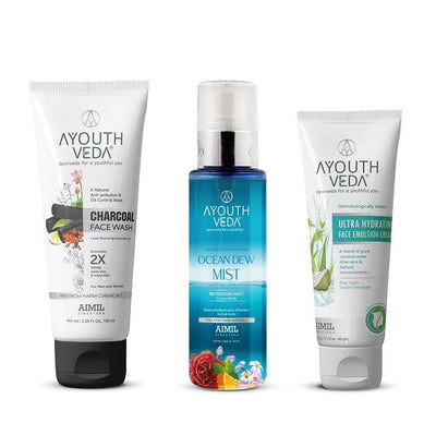 CTM Combo ( Charcoal Facewash + Ocean Dew Mist + Ultra Hydrating Face Emulsion Cream ) - Ayouthveda