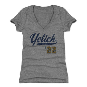 Christian Yelich Women's V-Neck T-Shirt | 500 LEVEL