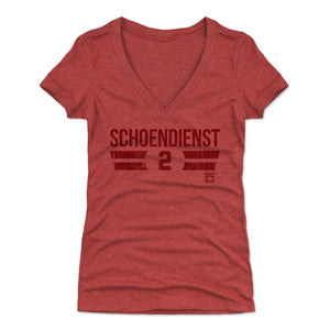 Red Schoendienst Women's V-Neck T-Shirt | 500 LEVEL