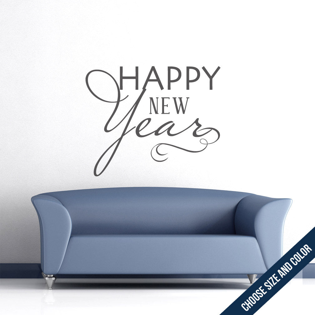 Happy New Year Wall Decal - Holiday Vinyl Sticker