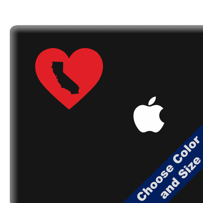I Heart California State Decal, Vinyl Sticker