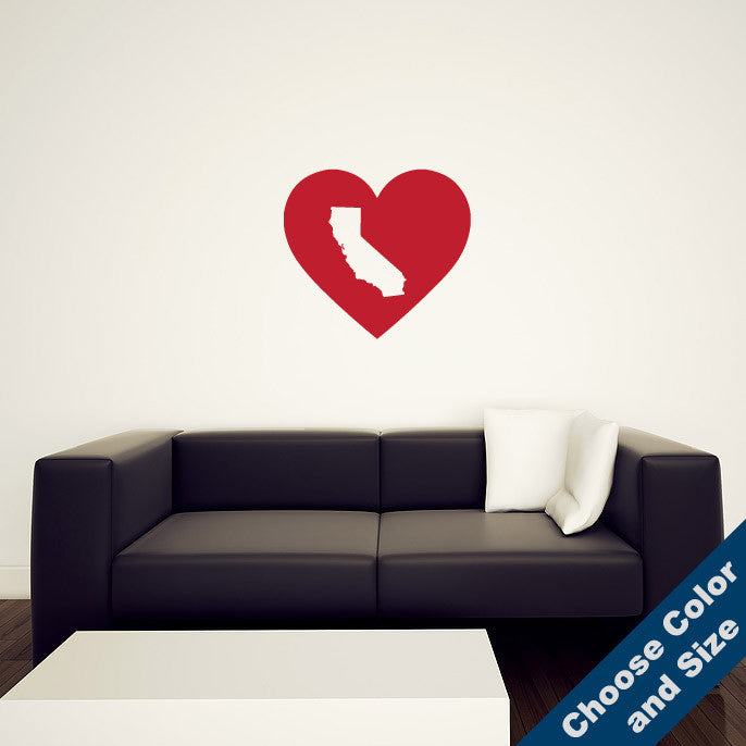 I Heart California State Wall Decal