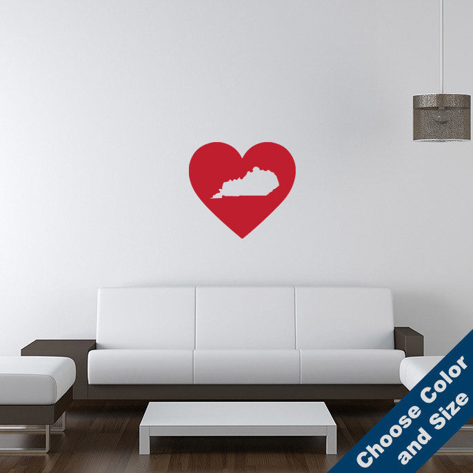 I Heart Kentucky State Wall Decal