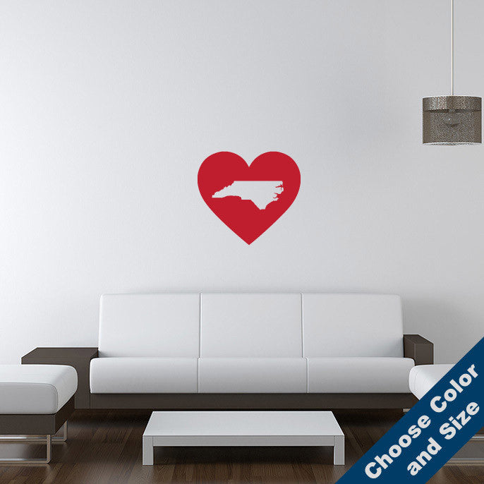I Heart North Carolina State Wall Decal