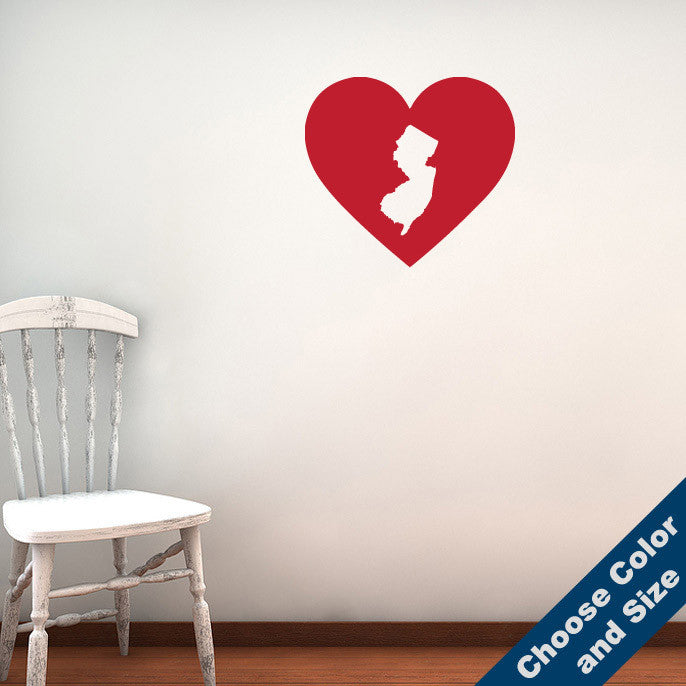 I Heart New Jersey State Wall Decal