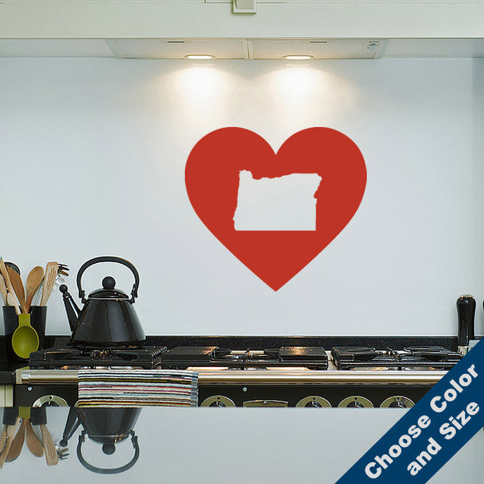 I Heart Oregon State Wall Decal