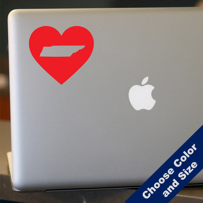 I Heart Tennessee State Decal, Vinyl Sticker
