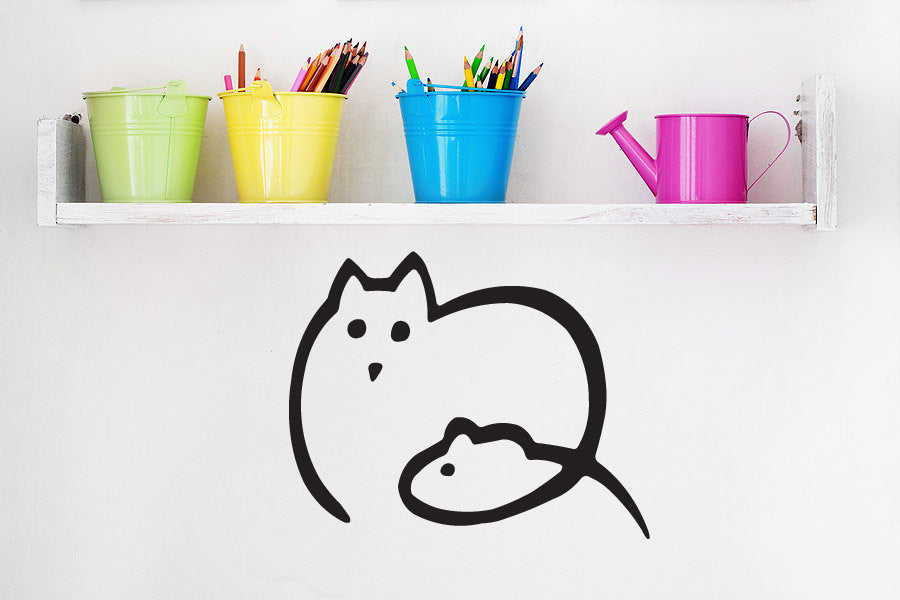 Cat Mouse Wall Decal
