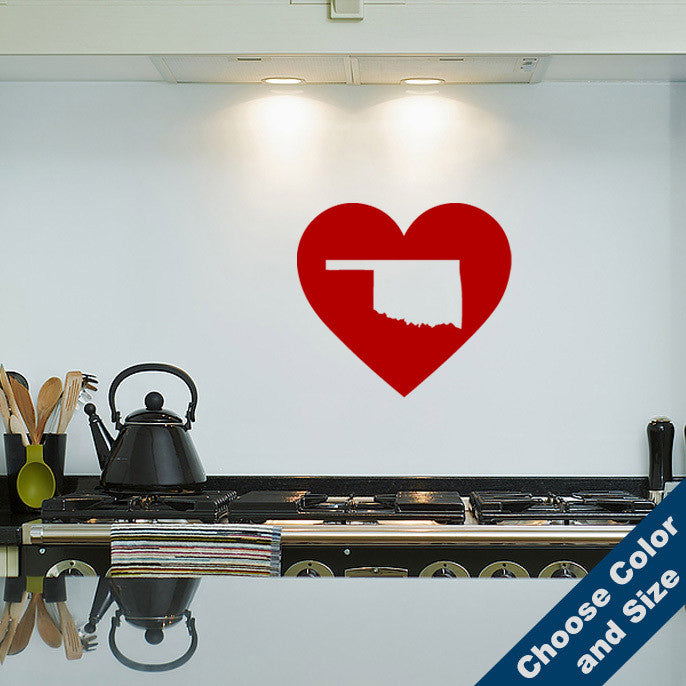 I Heart Oklahoma State Wall Decal