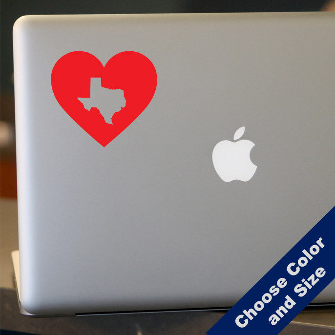 I Heart Texas State Decal, Vinyl Sticker