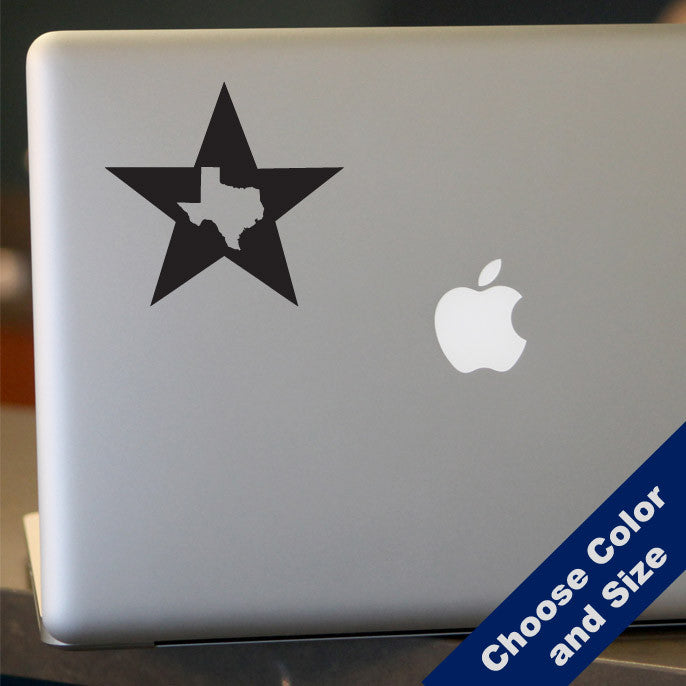 Texas in a Star Decal, Vinyl Sticker