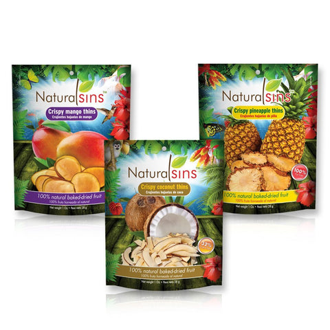 Crispy Thins Variety Pack (Coconut, Mango and Pineapple), 100% Natural Baked-dried, Case 12 Units (4 Units of Each Flavor), Weight Per Unit 1 Oz