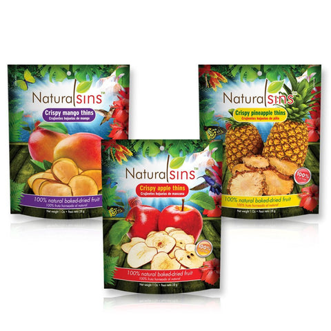 Crispy Thins Variety Pack (Apple, Mango and Pineapple), 100% Natural Baked-dried, Case 12 Units (4 Units of Each Flavor)