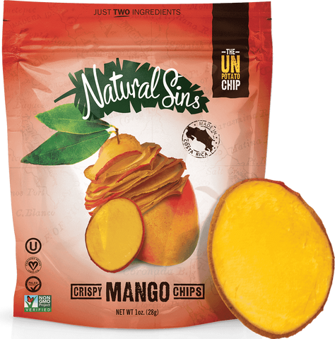 Natural Sins Crispy Chips Mango Flavour Baked Dried Bags, 28g, 6 Pack
