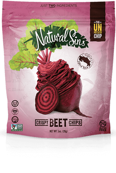 Natural Sins Crispy Chips Beet Flavour Baked Dried Bags, 28g, 6 Pack