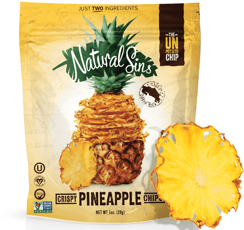 Natural Sins Crispy Chips Pineapple Flavour Baked Dried Bags, 28g, 6 Pack