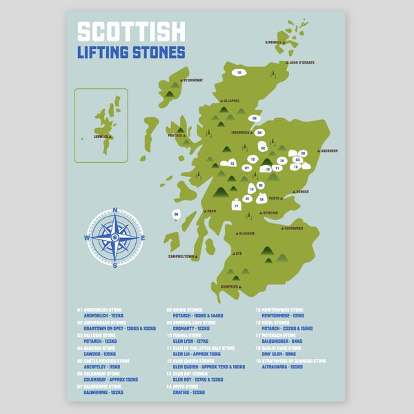 Scottish Stone Lifting Map (Various Sizes Available)