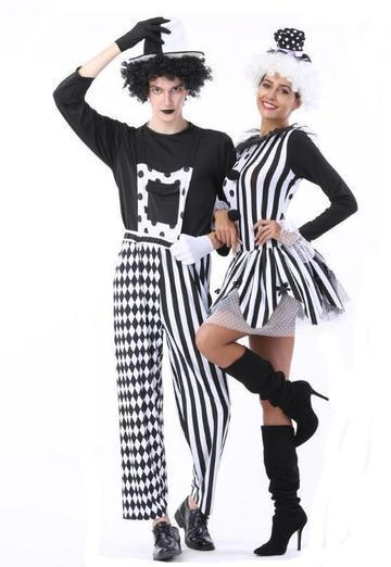 BFJFY Men Women Halloween Circus Clown Magician Couples Cosplay Costume - bfjcosplayer