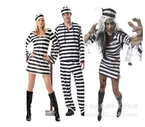 BFJFY Halloween Couple Striped Prisoner Cosplay Costume For Men And Women - bfjcosplayer