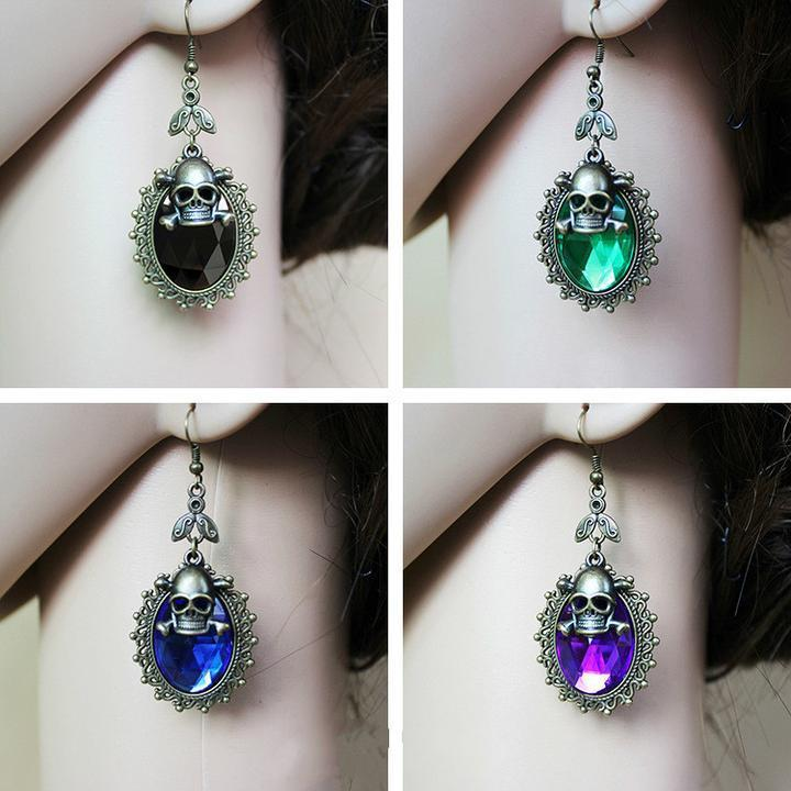 BFJFY Women Halloween Accessories Retro Jewelry Gothic Skull Crystal Earrings - bfjcosplayer