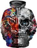 BFJmz Colorful Skull 3D Printing Coat Zipper Coat Leisure Sports Sweater  Autumn And Winter - bfjcosplayer