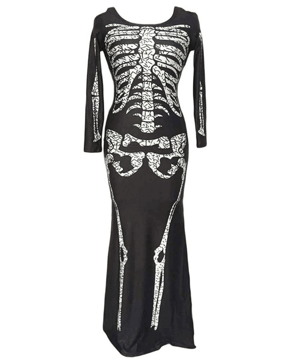 BFJFY Scary Bones Skull Long Dress Women's Halloween Cosplay Costume - bfjcosplayer