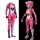 Fortnite Halloween Cuddle Team Leader Pink Bear Cosplay Costume Jumpsuit Woman - bfjcosplayer