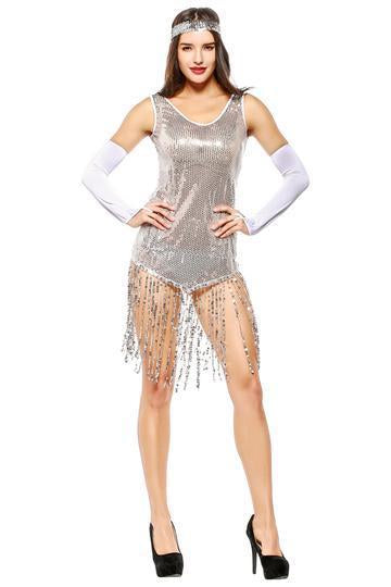 BFJFY Women Halloween Costume Latin Indian Dance Sequin Tassel Dress - bfjcosplayer